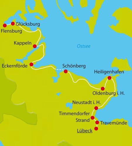 Karte Radtour Flensburg-Luebeck