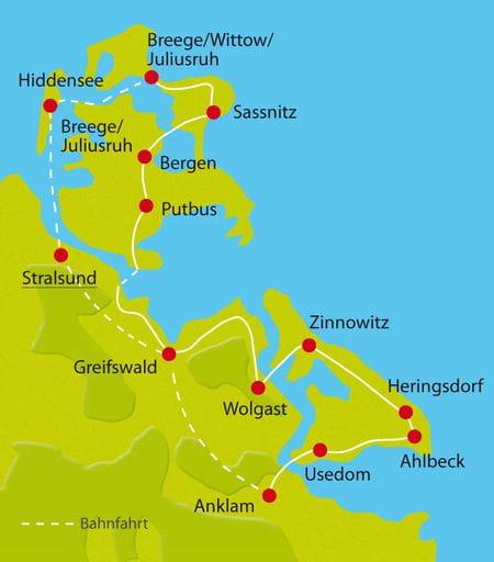 Karte Radreise Rügen und Usedom