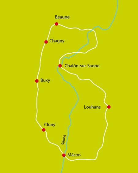 Radreise Burgund Karte