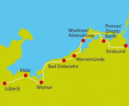 Karte Radtour Lübeck-Stralsund