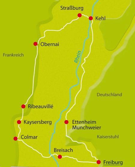 Karte Radtour Sued-Elsass