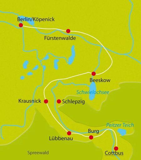 Karte Spreewald Cottbus-Berlin