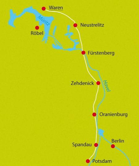 Karte Radreise Havel-Radweg