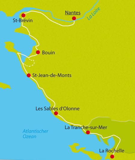 Karte Atlantikradreise Nantes