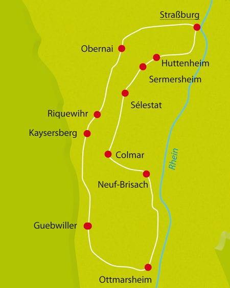 Karte Radtour Bilderbuch Elsass