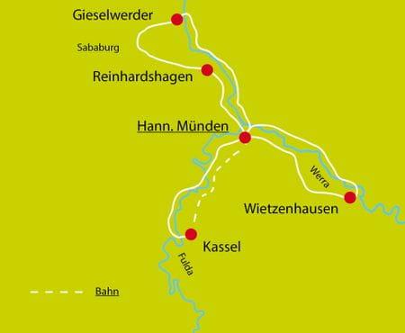Radtour Weser Sternfahrt Karte