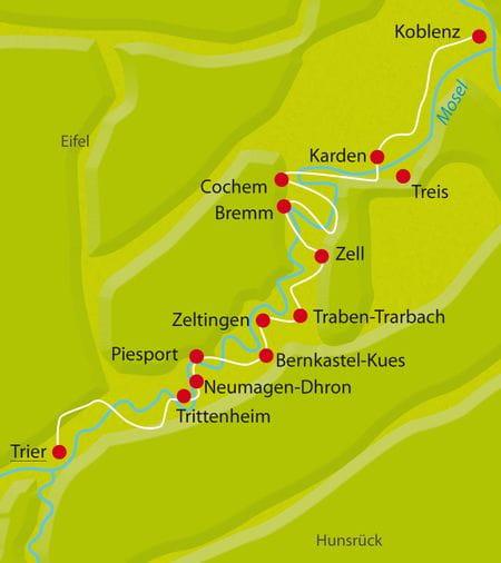 Karte Mosel-Radweg