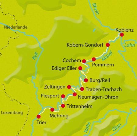 Karte Mosel-Radweg-Winzertour