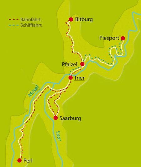 Karte Mosel-Radweg-Sternfahrt