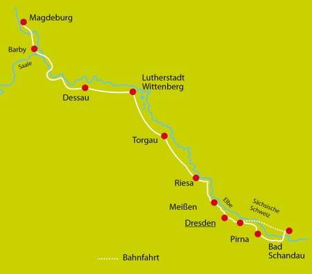 Map Bike Tour Elbe