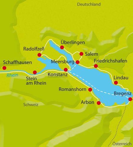 Karte Fahrradtour Bodensee Sternfahrt