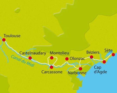 Karte Radtour Canal du Midi