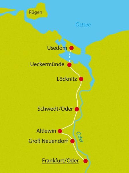 Karte Oder-Neisse-Radweg