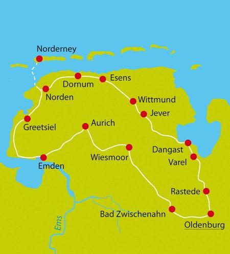 Map East Friesland Bike tour