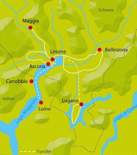 Karte Radtour Schweiz