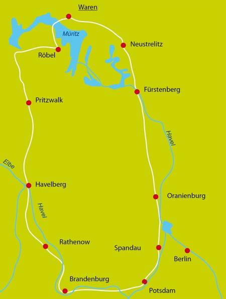 Karte Radurlaub Havel-Radweg