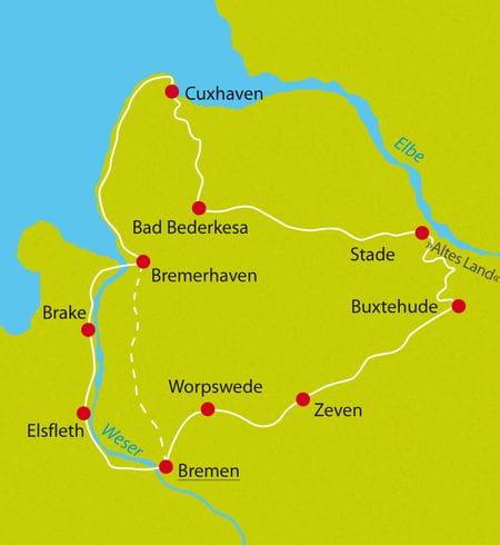 Karte Hanse Radtour