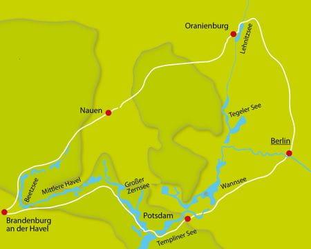 Karte Radtour Berliner Seen