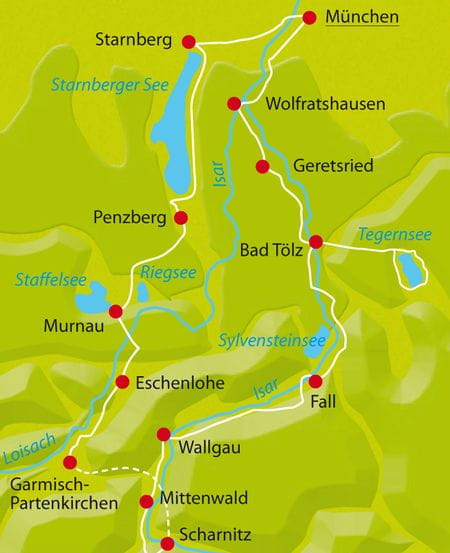 Map Bike Tour Munich Lake District