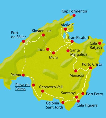 Karte Radtour Mallorca
