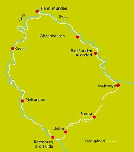 Werra und Fulda Karte