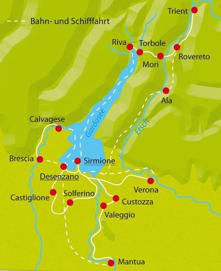 Karte Radtour Gardasee-Sternfahrt
