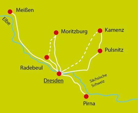 Map Dresden Sternfahrt