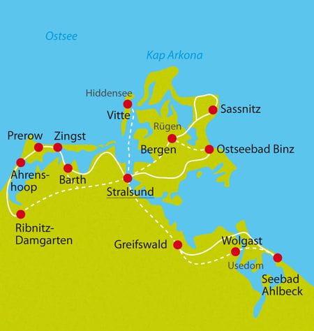 Karte Radtour Stralsund