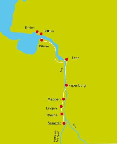 Karte Ems-Radweg