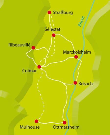 Karte Radtour Colmar Sternfahrt