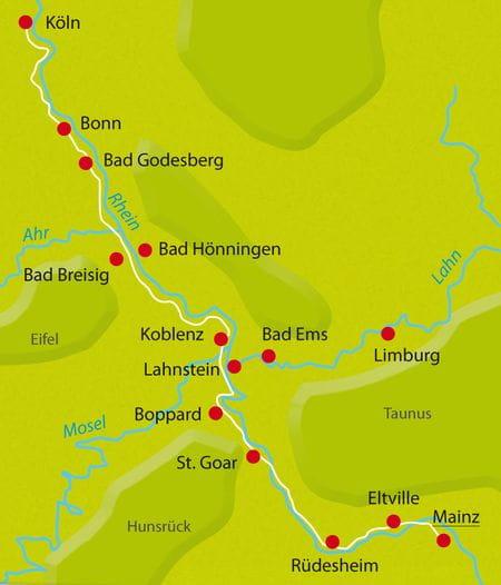 Map Bike Tour Rhine