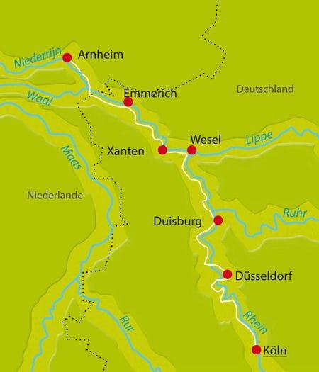 Karte Rhein Köln-Arnheim