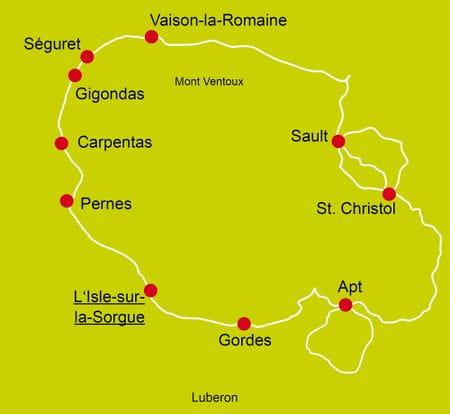 Karte Radtour Lavendelblüte in der Provence