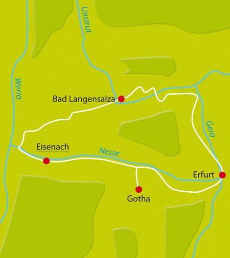 Karte Radreise Thüringer Becken