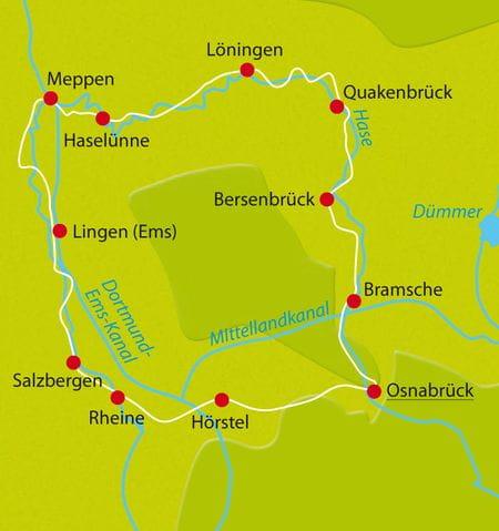 Karte Radtour Hase-Ems