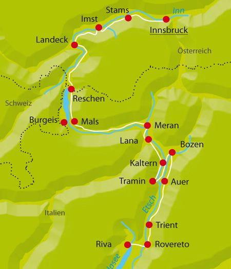 Karte Radtour Innsbruck-Gardasee