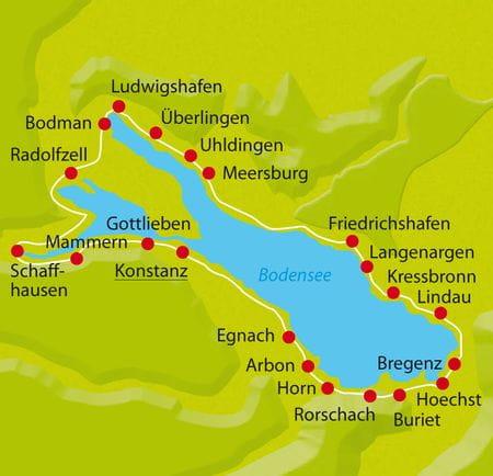 Karte Bodensee Radweg