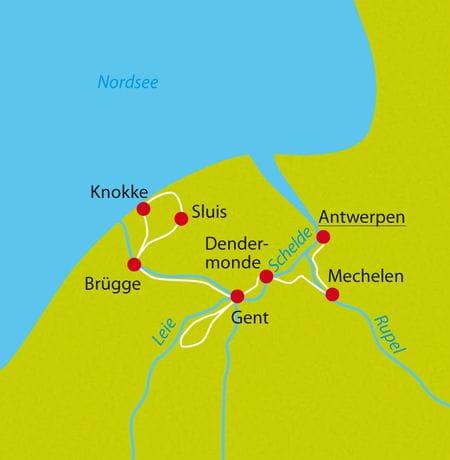 Karte Radtour Flandern