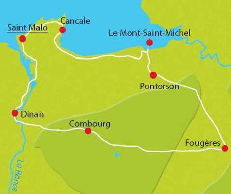 Karte Radtour Bretagne