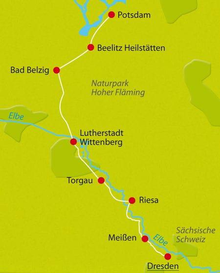 Map cycle tour Dresden-Potsdam