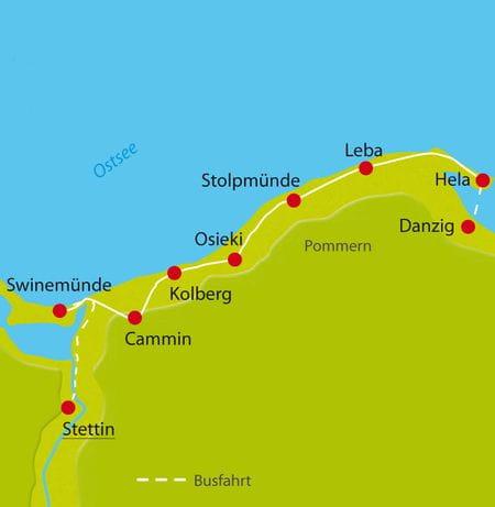 Karte Radtour Ostsee und Pommern