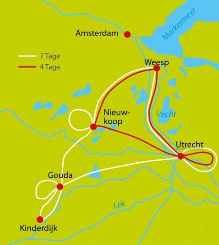 Karte Radreise Hollands Wasser