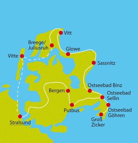 Karte Radreise Rügen
