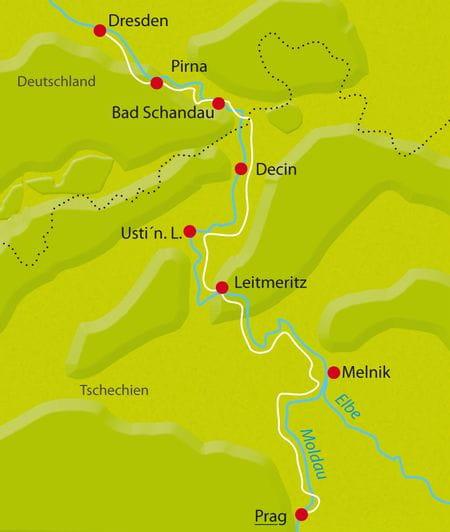 Map Prague-Dresden