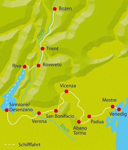 Karte Radtour Bozen-Venedig