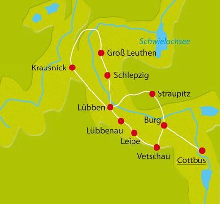 Karte Spreewald-Radtour