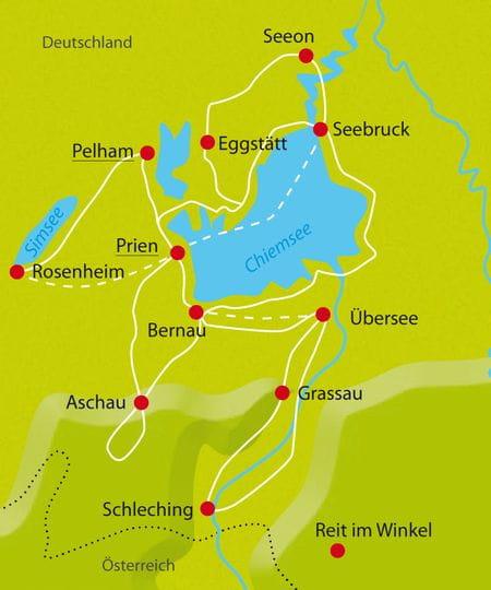 Karte Radtour Chiemsee Sternfahrt