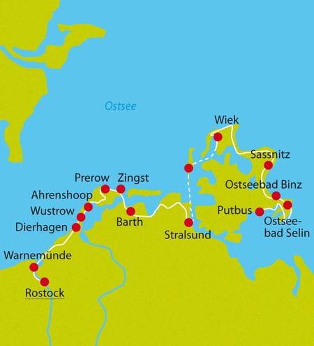 Karte Ostseeradweg Warnemünde-Rügen