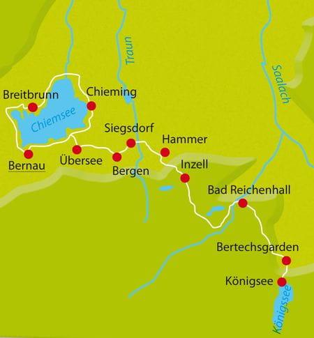 Karte Radtour Chiemsee-Königssee