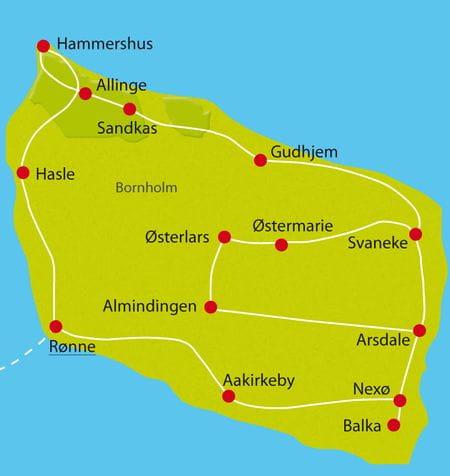 Karte Radtour Bornholm